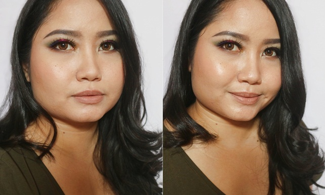 DIY shimmering face spray before after - Copy